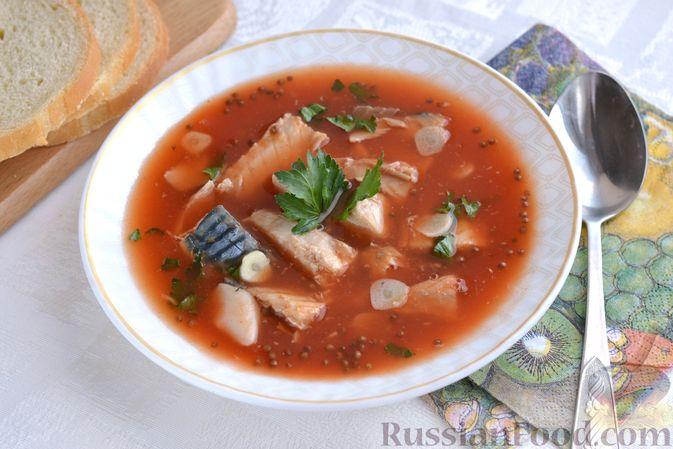 Томатный суп со скумбрией
