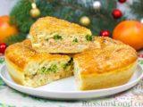 Пирог с красной рыбой и брокколи