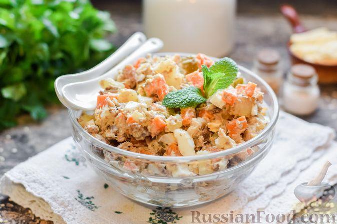 Салат с картофелем, сардинами, морковью и солёными огурцами