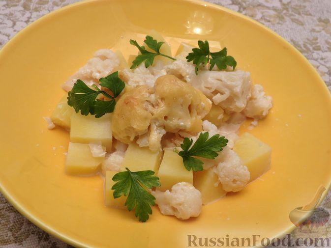 Картошка, запечённая с цветной капустой, сливками и сыром