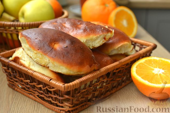 Творожные дрожжевые пирожки с апельсинами